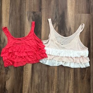 Two free people ruffle back crop tanks
